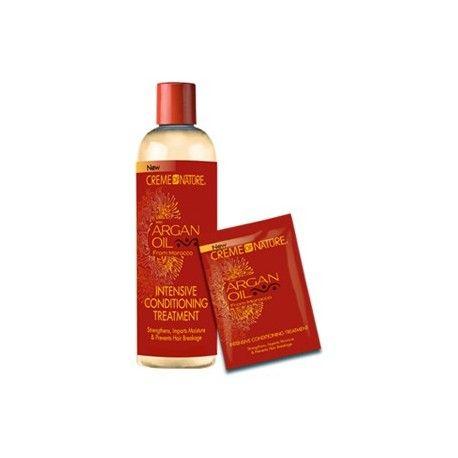 Argan Oil Intensive Conditioning Treatment - Creme of Nature. À l'huile d'Argan certifiée biologique du Maroc. Renforce, hydrate et empêche la casse des cheveux.  Ce traitement revitalisant intense renforce et aide à prévenir les dommages causés aux cheveux. Idéal pour tous les types de cheveux, y compris défrisés, naturels ou colorés.