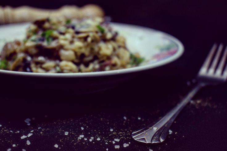 Risotto, prosciutto, mushrooms