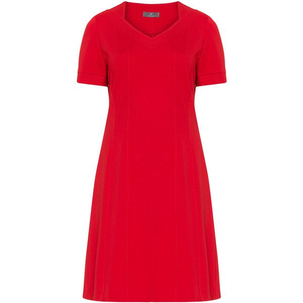 Karin Paul Red Plus Size Short sleeve jersey dress ($150) ❤ liked on Polyvore featuring dresses, plus size, red, short sleeve dress, red v neck dress, women plus size dresses, plus size red dress and plus size v neck dress