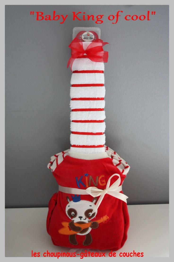 Guitare gâteau de couches cadeau original naissance baptême bébé garçon : Décoration pour enfants par les-choupinous