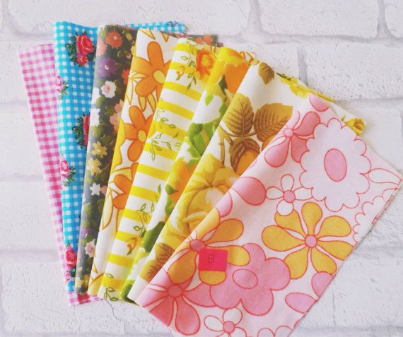 Vintage sheet fabric bundle in retro florals and by littleteawagon