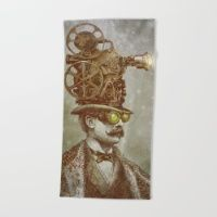 The Projectionist  Beach Towel #society6 #summer #beach #towel #beachtowel #art #illustration #design #vintage #victorian #tophat #surreal #film #projector #steampunk