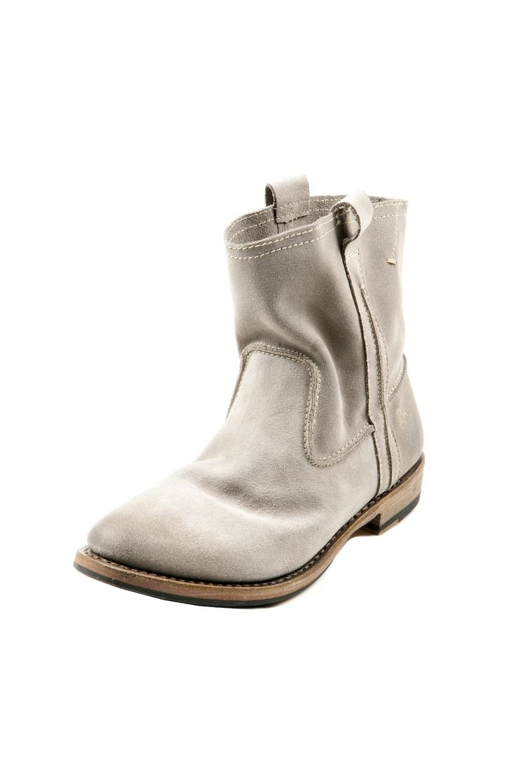 Short Suede Western Boot. Grey Ankle BootsGrey ...
