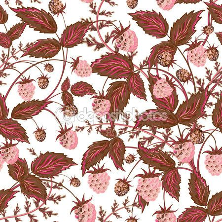 Raspberries seamless pattern with pink raspberry and brown leaves on white background — Ilustracja stockowa #96669692