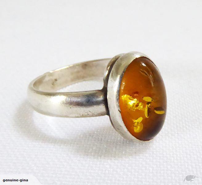 European vintage Baltic Amber & Sterling ring size O
