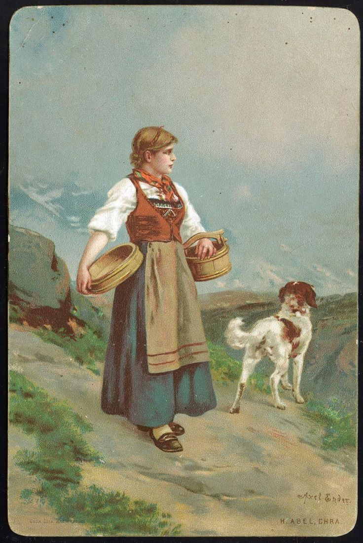 ENDER, AXEL. Kartongkort med jente i bunad og hund, (H. Abel, Chra), brukt 1891