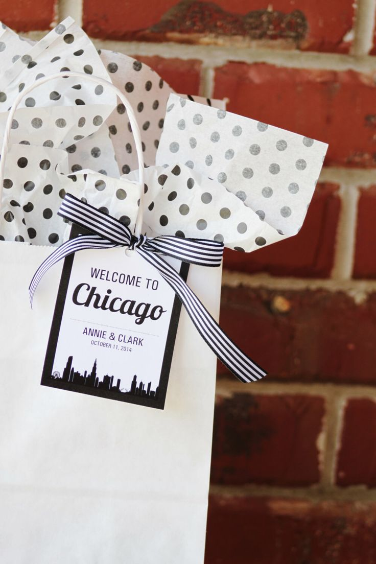 Welcome to Chicago - Printable Bag Tag - Black and White Modern skyline - For Welcome Bag or Box by HHpaperCO on Etsy https://www.etsy.com/listing/206778575/welcome-to-chicago-printable-bag-tag