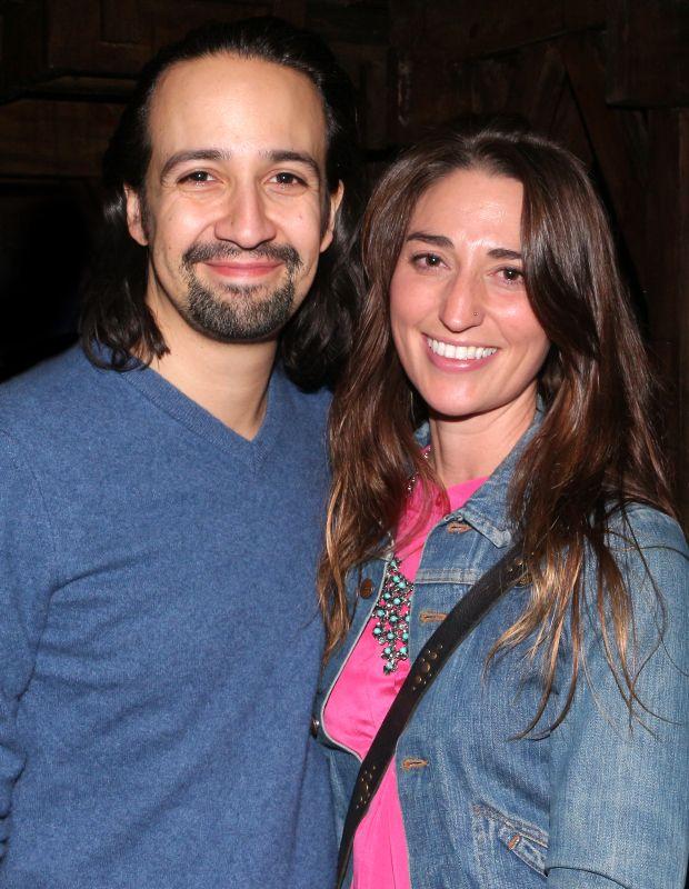 Hamilton writer/star Lin-Manuel Miranda takes a backstage snapshot with singer-songwriter and Waitress coauthor Sara Bareilles.