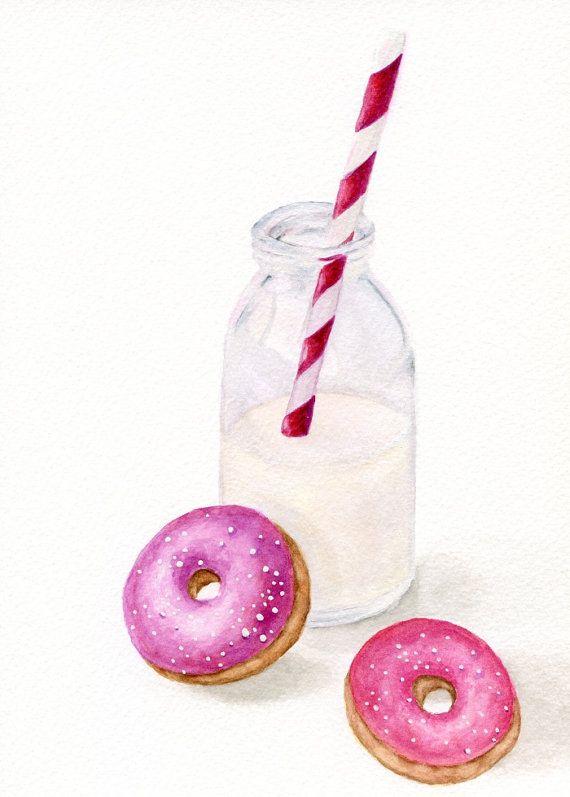 URSPRÜNGLICHE kleine Gemälde Milch und Donuts von ForestArtStudio