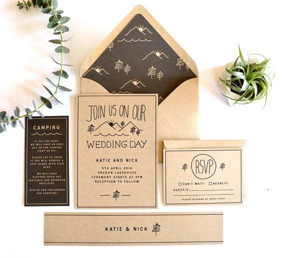 Woodsy wedding invitation suite, rustic wedding invitation, mountain wedding invitation, nature wedding, camp wedding invitation, kraft card