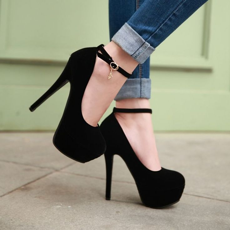 Fashion Round Toe Stiletto Heels Ankle Strap Black Pumps...if only they were a little lower but still cute!