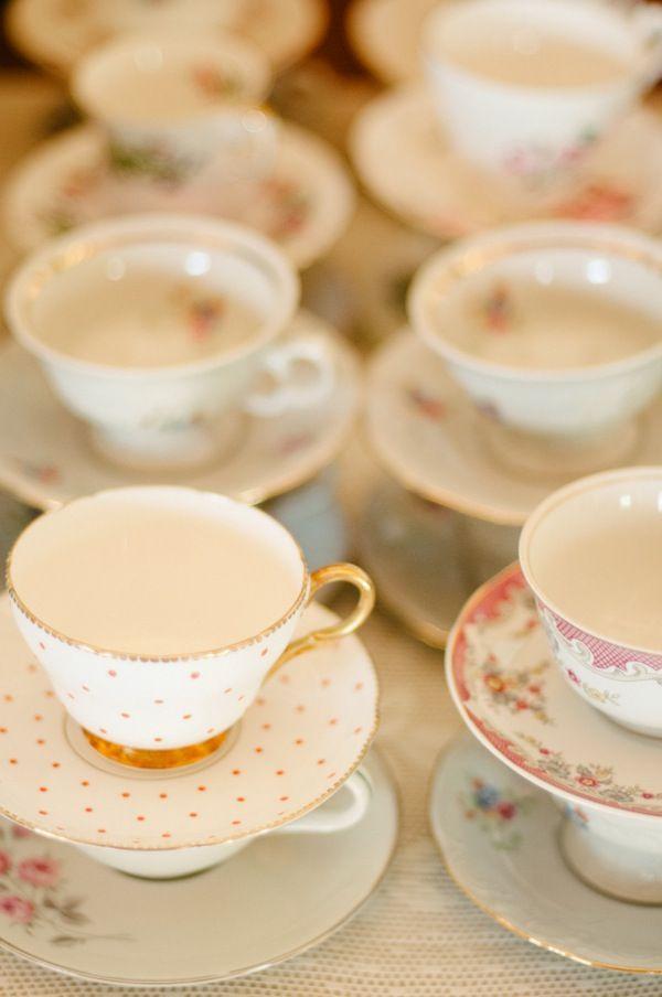 floral + polka dot teacups