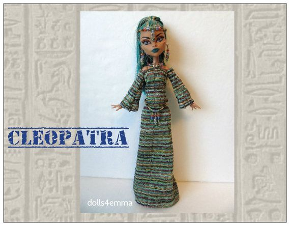 Monster High Nefera Doll kleren Handmade aangepaste Deluxe Egyptische Fashion - jurk, riem & sieraden - door dolls4emma
