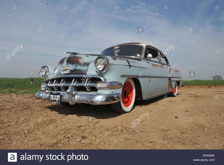 Rat look 1954 Chevrolet Bel air classic sun bleached American car, lightly hot rodded Stock Photo