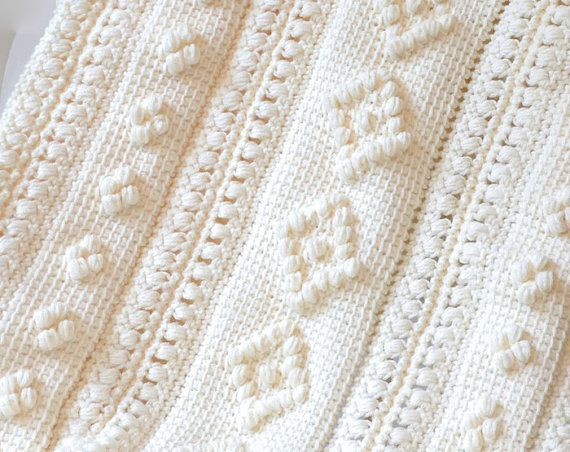 Tunisian Crochet Baby Afghan/Blanket by Mountain Majik  #afghan #blanket #bedding #baby #infant #white #cream #crochet #bobble #mountainmajik