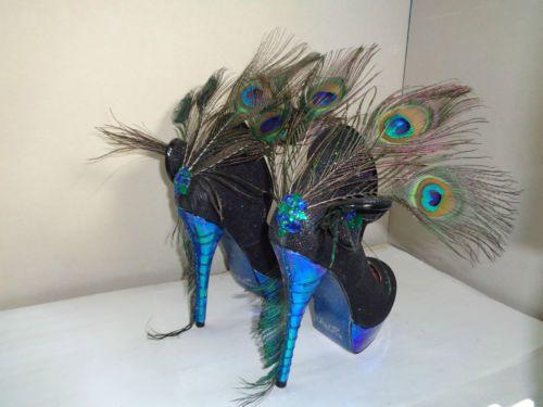 Chelise-unique-bleu-luminescent-vert-paon-queue-de-plume-escarpins-plate-forme-5-38