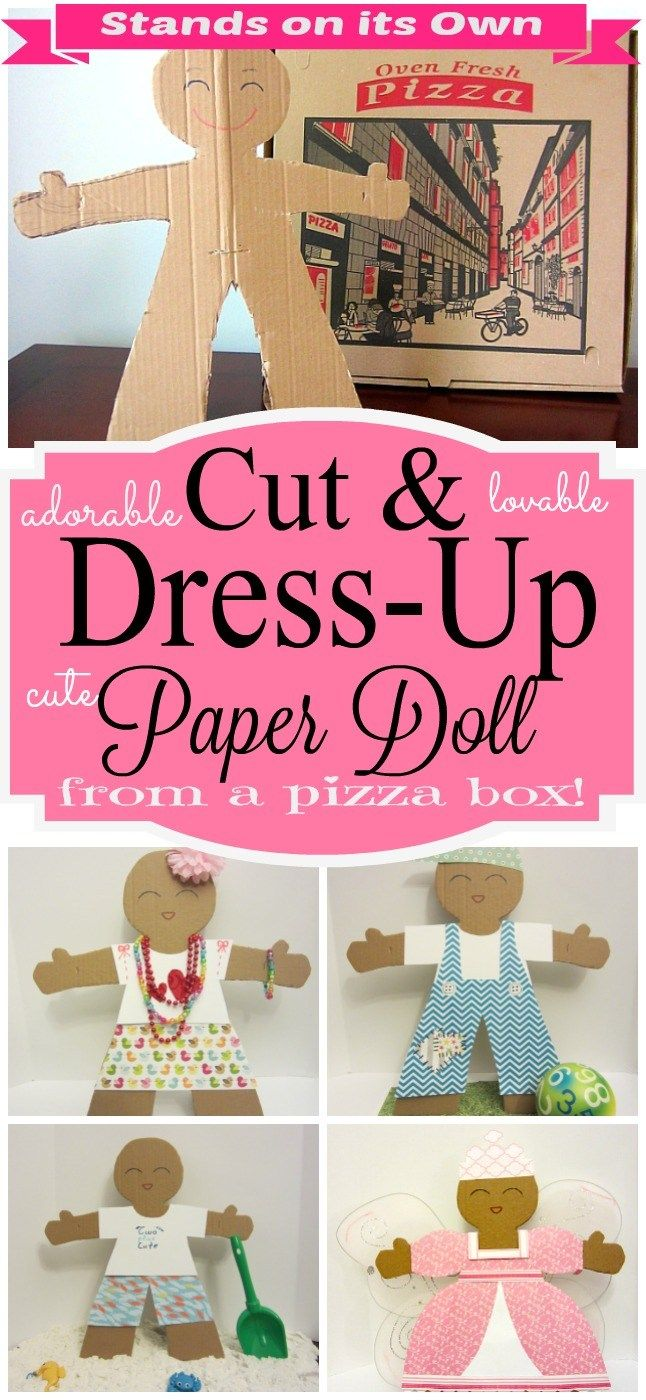 Adorable craft! Tutorial for a cute Cut & Dress up paper doll, made out of a pizza box, that stands on its own. 6 Learning activities for children and fashion ideas to dress your doll, by TwoPlusCute