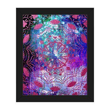 Mandala wall decor is a great waymake your home feel more relaxing. In addition, to being relaxing mandala wall decor isbeautiful,uniqueandincredibly popularright now. You will see it everywhere from bedrooms, living rooms offices, and yoga / exercise rooms.  Spiritual Glow: Modern Contemporary Abstract Painting Line Drawing of Mandala in Bold Colors Black Purple Blue Turquoise Hot Pink Magenta Wall Art Print on Canvas with Black Frame
