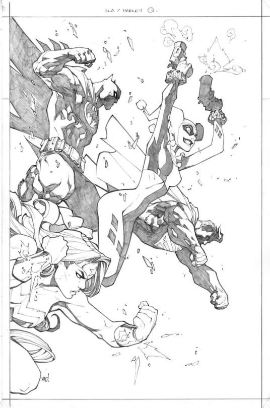 StuffNThings - JLA and Harley Quinn by Joe Madureira