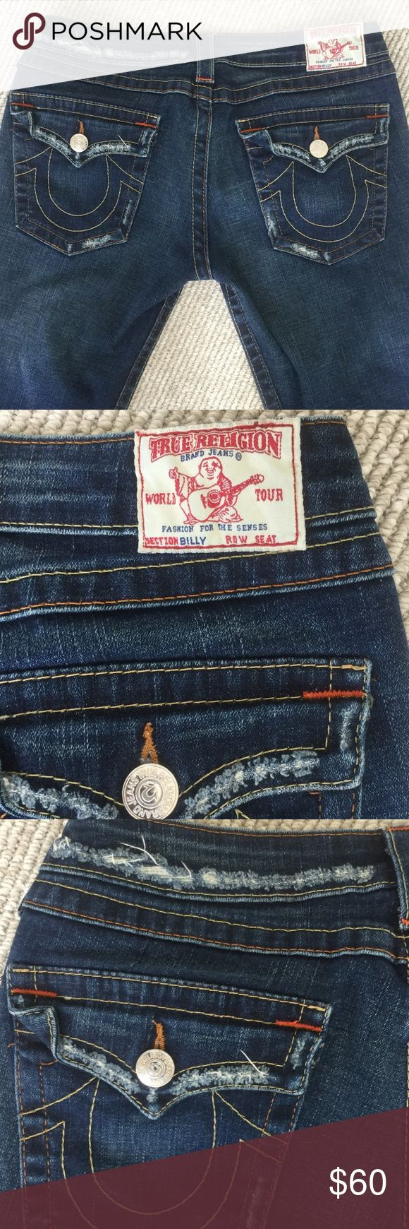 True Religion dark wash straight leg Billy size 30 These jeans are awesome! I just wish they still fit. Intentionally distressed on the waist, pockets and legs. Waist 30, length 32. If you need additional measurements, just ask! True Religion Jeans Straight Leg