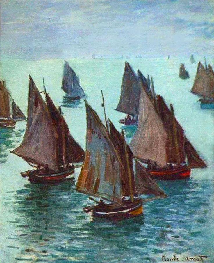 Barche da pesca in mare calmo di  Claude Monet