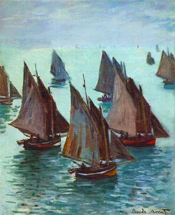 Fishing Boats, Calm Sea, by Claude Monet, 1868.