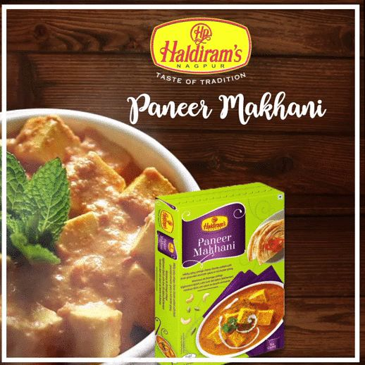 Haldirams Nagpur Paneer Makhani - Ready to eat A tasty combination of tender chunks of cottage cheese and fresh spinach cooked in a mildly spicy gravy.