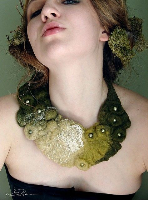 Felted Eco Fashion Collar DEEP FOREST (Made to Order). $68.00, via Etsy.