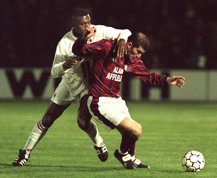Marcel Desailly (AC Milan, 1993–1998, 137 apps, 5 goals) and Zinedine Zidane (FC Girondins de Bordeaux) during UEFA Cup Quarter-Final 2nd leg on 19 March 1996. Bordeaux vs AC Milan 3-0 (Tholot 14', Dugarry Goal 63', 69')