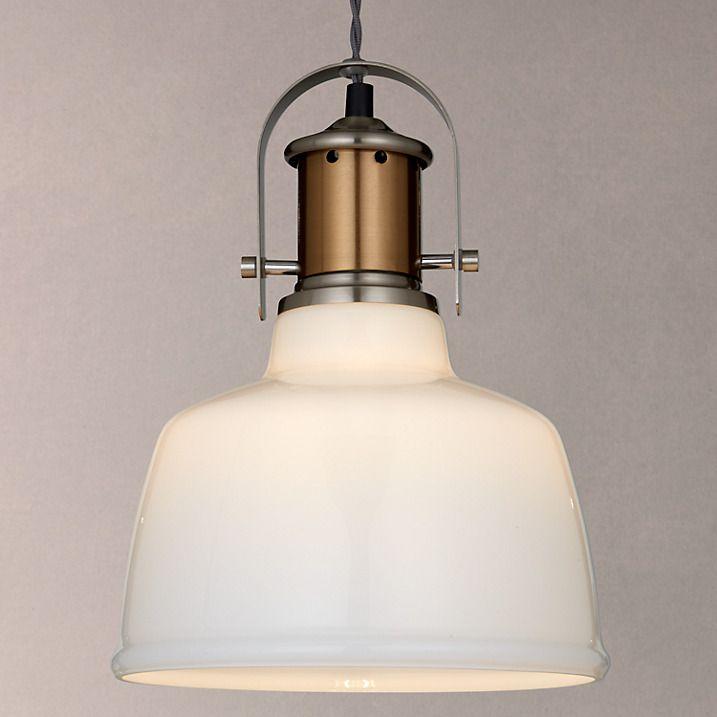 Buy John Lewis Lloyd Glass White Pendant Ceiling Light, Satin Nickel Online at johnlewis.com