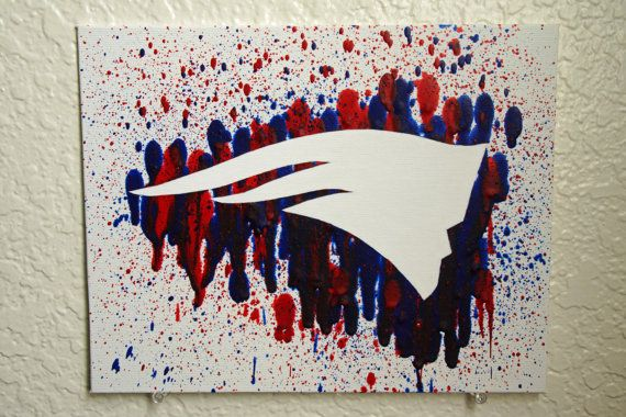 New England Patriots Melted Crayon Art by MikeAndKatieMakeArt