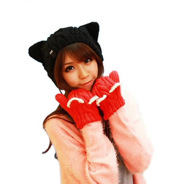 Knitted Petite Cat Ear Beanie