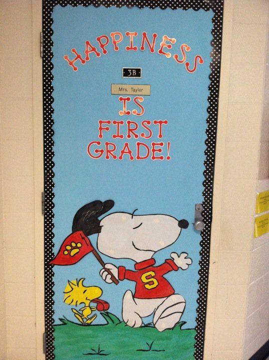 Change grade to be appropriate - snoopy door displays back to school ideas | Snoopy Door Decoration Idea - MyClassroomIdeas.com