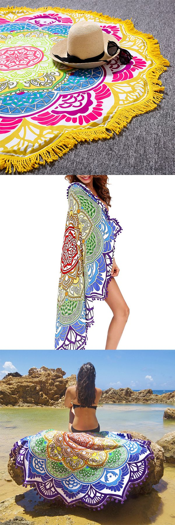"US$15.99 + Free shipping. Bohemian Tapestry Lotus Beach Towels Yoga Mat Camping Mattress Bikini Cover.Size: 150cm x 150cm / 59.05"" Material: Polyester. 9 styles for your choice. It also can be a tapestry wall hanging, yoga mat, tablecloth, blanket, bedspreads, camping mattress and bikini cover."