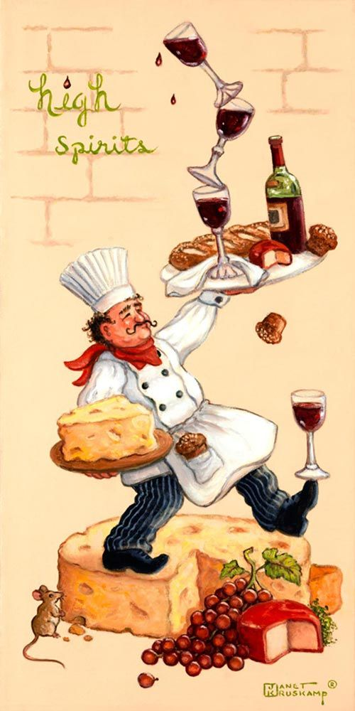 Whimsical Chef High Spirits, one of a set of four original oil paintings by artist Janet Kruskamp depicting a whimsical chef in a white chef...
