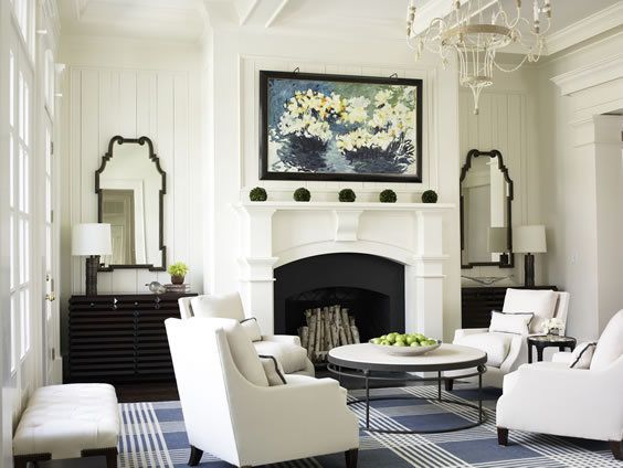 White room, blue rug: Mirror, Idea, White Living, Living Rooms Design, Interiors Design, Club Chairs, Seats Arrangements, Furniture Placements, Fireplace