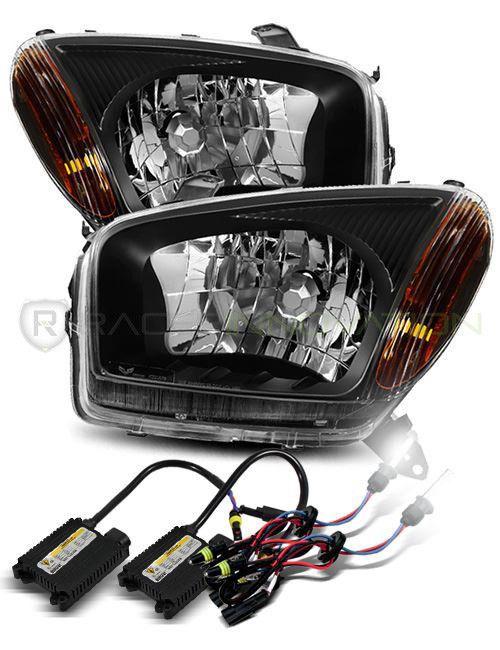 6000k Xenon Hid For 2001 2003 Toyota Rav4 Lh Rh Black Crystal Headlights Lamps Ebay Link
