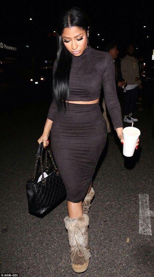 Nicki Minaj recycles 2012 Fendi rabbit fur boots f