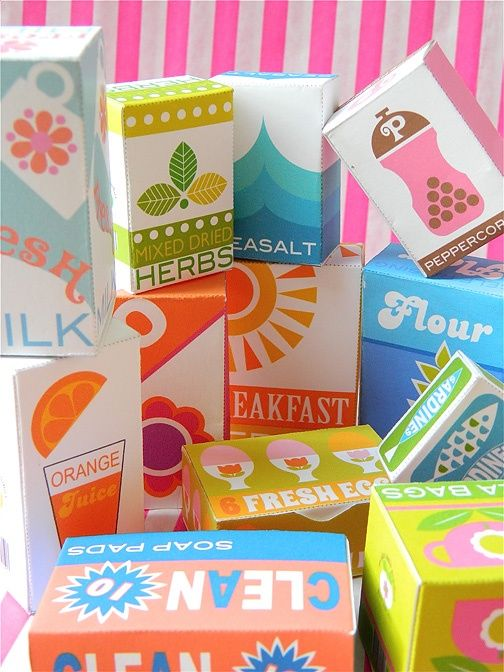 70's Supermarket Play Shop Box Printables from Kitschy Digitals.