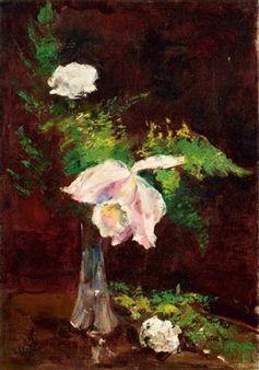 Lesser Ury - Nelke und Orchidee in Vase 1920