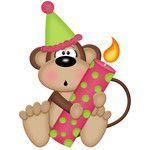 birthday monkey girl holding candle