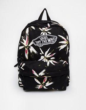 Vans Realm Backpack in Black Floral Print