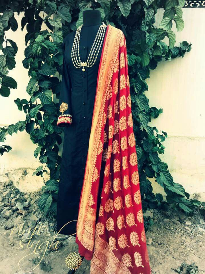 Black and red anarkali dress