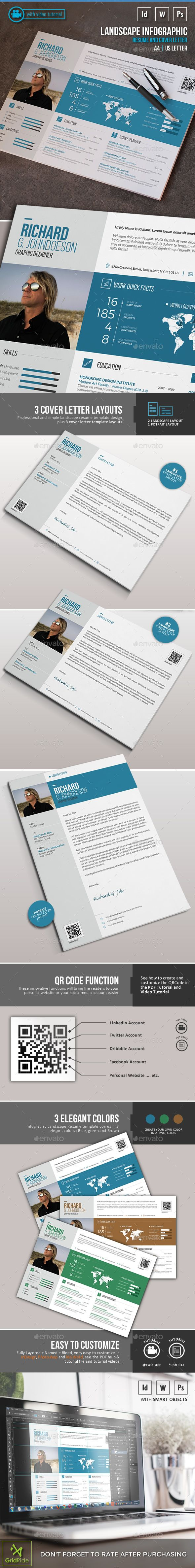 Landscape Infographic Resume — Photoshop PSD #cv #msword resume • Available here → https://graphicriver.net/item/landscape-infographic-resume/16135251?ref=pxcr