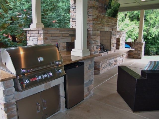 Photo Of Brown Bros Masonry Oregon City Or United States Outdoor Living Outdoor Fireplace Outdoor Kitchen G Outdoor Kitchen Countertops Outdoor Kitchen