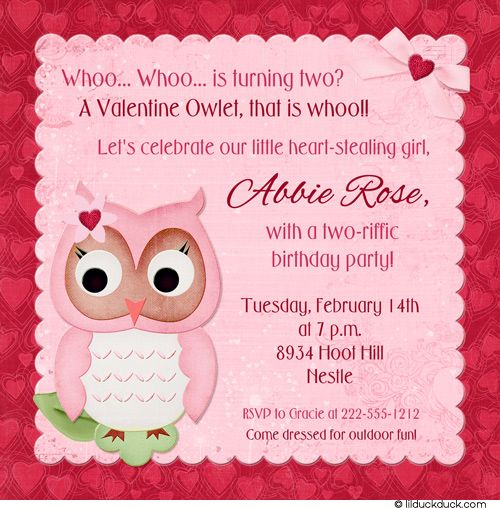 54 best valentine party invitations ideas images on pinterest valentine owl birthday invitation hearts pink red photo solutioingenieria Gallery