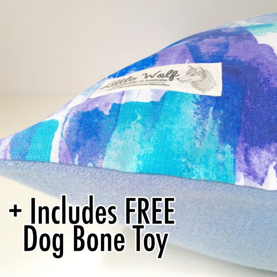 Designer Dog Bed Cover, Blue Water Colour Dog Bed, Washable Dog Bed, Cotton Dog…