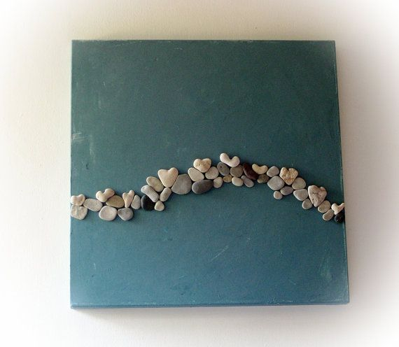 Original OOAK 3D Art Painting with genuine Heart Shaped Beach rocks.
