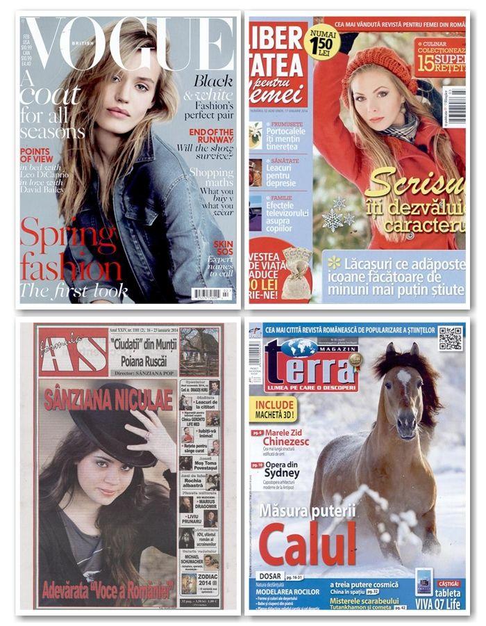 Peste 50 de reviste noi apar maine, intre acestea numarandu-se:  – revistele de lifestyle feminin Vogue (Anglia), Libertatea pentru Femei sau Marie Claire (Anglia) – revistele educative pentru copii Pipo si Imbatabilii – revistele auto: Evo, Classic Cars si Top Gear (toate din Anglia) – Terra Magazin, Temporis, Practical Photography (Anglia) sau Classic Rock (Anglia)  Lista completa o gasiti aici: http://inmedio.ro/site/blog/reviste-noi-17-ianuarie-2014/