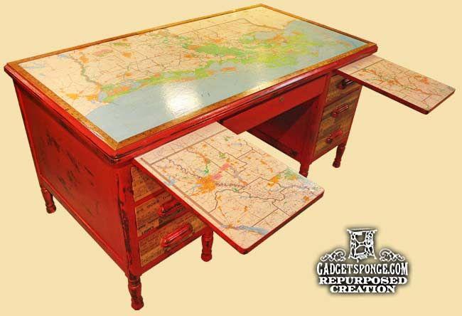 Louisiana Maps & Vintage Yardstick Red Chalk Paint Writing Desk by GadgetSponge.com - Repurposing, Upcycling, Birds & Nature